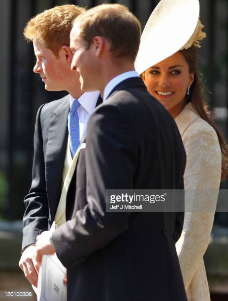 Prince Harry, Prince William, Duke of Cambridge and Catherine, Duchess of Cambridge depart after the Royal wedding of Zara Phillips and Mike Tindall...