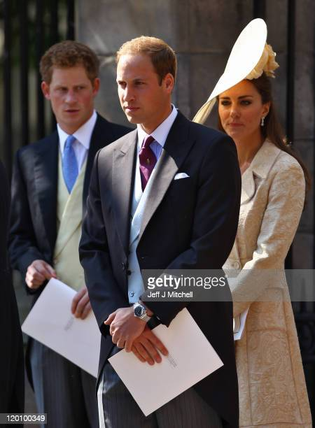 Prince Harry Prince William Duke of Cambridge and Catherine Duchess of Cambridge depart after the Royal wedding of Zara Phillips and Mike Tindall at...