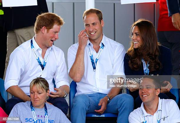 Prince Harry Prince William Duke of Cambridge and Catherine Duchess of Cambridge watch the Wales v Scotland Hockey match at the Glasgow National...