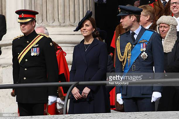 Prince Harry Prince William Duke of Cambridge and Catherine Duchess of Cambridge attend a Service of Commemoration for troops who were stationed in...