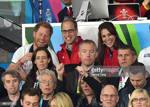 Prince Harry Prince William Duke of Cambridge and Catherine Duchess of Cambridge attend the England v Wales match during the Rugby World Cup 2015 on...