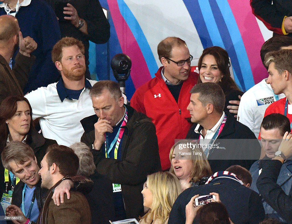 Prince Harry, Prince William, Duke of Cambridge and Catherine; Duchess of Cambridge attend the England v Wales match during the Rugby World Cup 2015 on September 26, 2015 at Twickenham Stadium, London, United Kingdom.