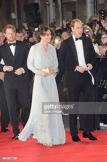 Prince Harry, Prince William, Duke of Cambridge and Catherine, Duchess of Cambridge attend the Royal World Premiere of 'Spectre' at Royal Albert Hall...