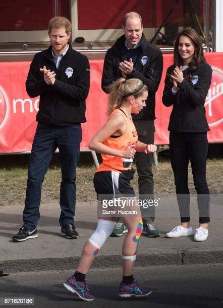 Prince Harry, Prince William, Duke of Cambridge and Catherine, Duchess of Cambridge cheer on runners after starting the 2017 Virgin Money London...