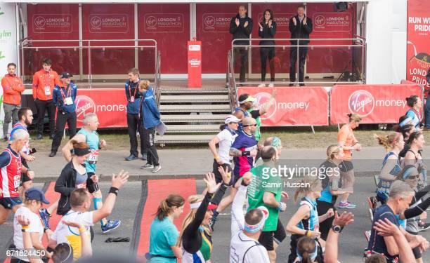 Prince Harry Prince William Duke of Cambridge and Catherine Duchess of Cambridge officially start the 2017 Virgin Money London Marathon elite men's...