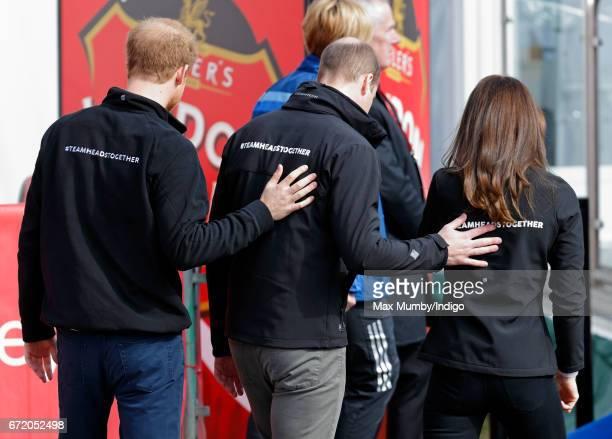 Prince Harry, Prince William, Duke of Cambridge and Catherine, Duchess of Cambridge attend the start of the 2017 Virgin Money London Marathon on...