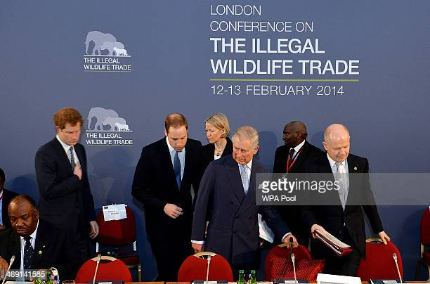 Prince Harry Prince William Duke of Cambridge Prince Charles Prince of Wales and Foreign Secretary William Hague attend the Illegal Wildlife Trade...
