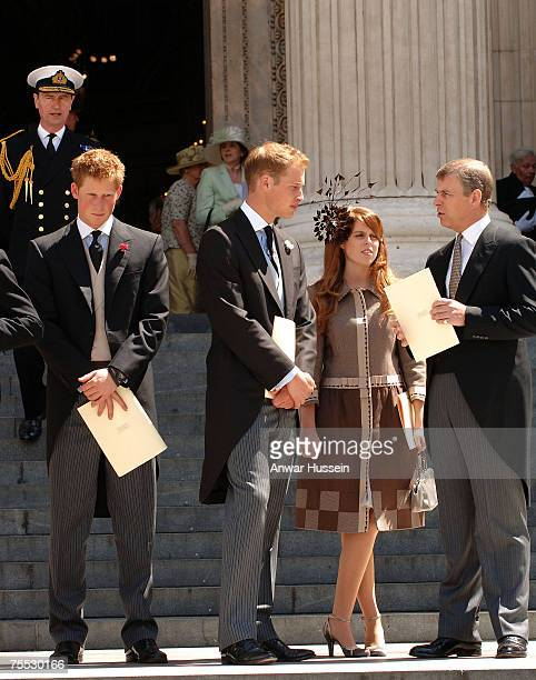 Prince Harry Prince William Princess Beatrice and Prince Andrew leave St Pauls Cathedral following a Service of Thanksgiving to mark the Queen's 80th...