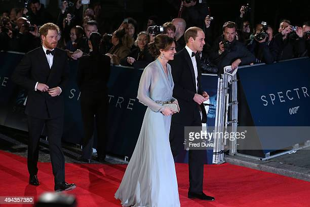 Prince Harry Prince Williams Duke of Cambridge and Catherine Duchess of Cambridge attend the Royal World Premiere of 'Spectre' at Royal Albert Hall...