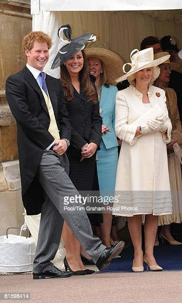 Prince Harry Prince William's girlfriend Kate Middleton and Camilla Duchess of Cornwall laugh together as they watch the Order of the Garter...