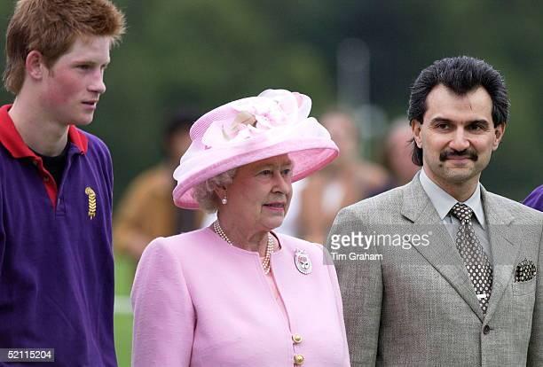 Prince Harry Queen Elizabeth Ll And Hrh Prince Al Waleed Bin Talal Bin Abdul Aziz Al Saud Of The Saudi Arabian Royal Family At Guards Polo Where The...