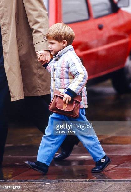 Prince Harry returns to his Nursery School in London's Notting Hill after the Christmas Break on January 12 1989 in London United Kingdom