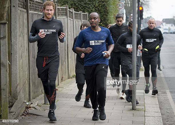 Prince Harry runs with staff and users of The Running Charity which is the UK's first runningorientated programme for homeless and vulnerable young...