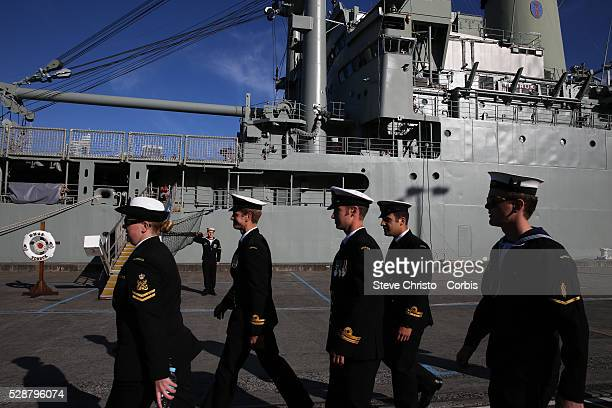 HRH Prince Harry salutes the troops at Garden Island during the International Fleet Review Navel troops prepare for the arrival of the prince The...