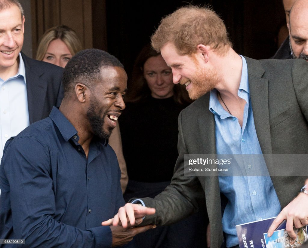 Prince Harry says says farewell to Trevor Rose Manager of the Full Effect project after an official visit to Full Effect & Coach Core on February 1, 2017 in Nottingham, England. Full Effect and Coach Core are projects supported by The Royal Foundation to improve opportunities for young people.
