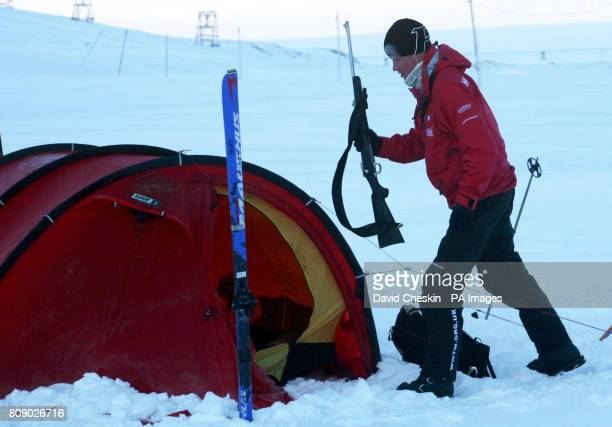 Prince Harry sets up his tent where he will spend the night as he joins the Walking with the Wounded team who gather on the island of Spitsbergen...