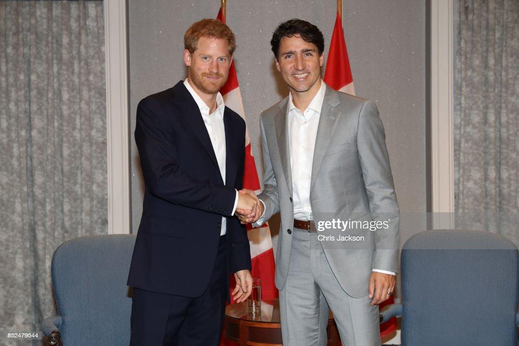 Prince Harry shakes hands with Canadian Prime Minister Justin Trudeau ahead of the Invictus Games 2017 at the Royal York Hotel on September 23, 2017 in Toronto, Canada