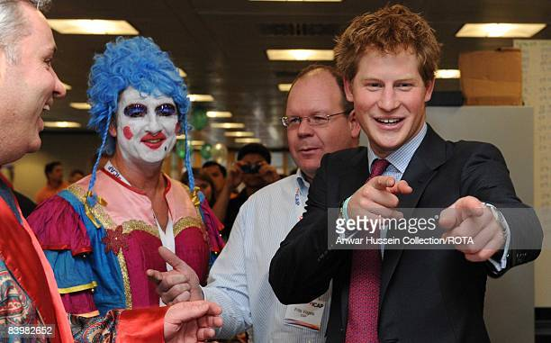 Prince Harry shares a joke with brokers at the offices of city traders ICAP on December 10, 2008 in London, England. The Prince attended the 16th...