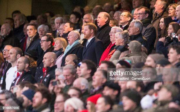 Prince Harry sings the national anthem during the NatWest Six Nations Championship match between England and Wales at Twickenham Stadium on February...