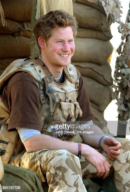 Prince Harry sits in an area of the observation post on JTAC Hill close to FOB Delhi in Helmand province Southern Afghanistan