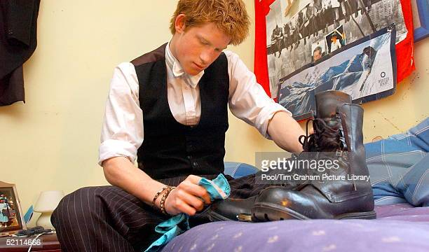 Prince Harry Sits In His Bedroom At Boarding School As He Polishes The Army Boots That He Wears While Taking Part In The Military Combined Cadet...