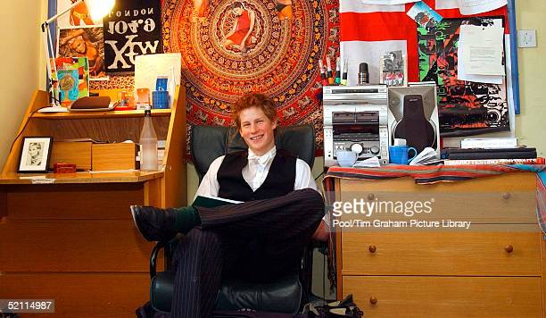 Prince Harry Sits In His Bedroom At Eton College. Within Limits, Student Are Allowed To Decorate Their Room Themselves. At Typical Student Room He...