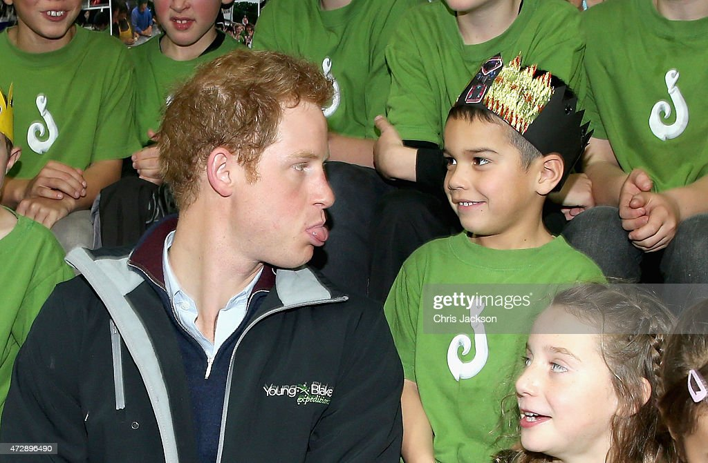 Prince Harry sits with pupils at Halfmoon Bay School in Oban as he leaves on May 11, 2015 in Stewart Island, New Zealand. Prince Harry is in New Zealand from May 9 through to May 16 attending events in Wellington, Invercargill, Stewart Island, Christchurch, Linton, Whanganui and Auckland.