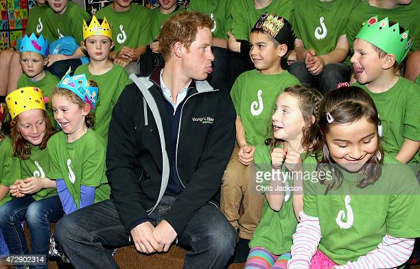 Prince Harry sits with pupils at Halfmoon Bay School in Oban as he leaves on May 11 2015 in Stewart Island New Zealand Prince Harry is in New Zealand...