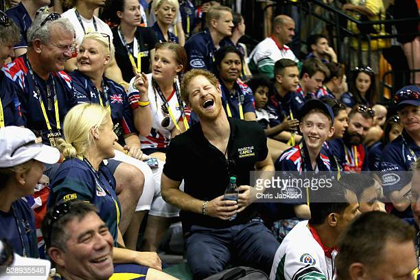 Prince Harry sits with the crowd as he watches the sitting volleyball at Invictus Games Orlando 2016 at ESPN Wide World of Sports on May 7 2016 in...