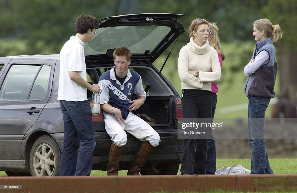 Prince Harry Sitting In The Back Of His Volkswagen Golf Car Surrounded By  Girls At Beaufort