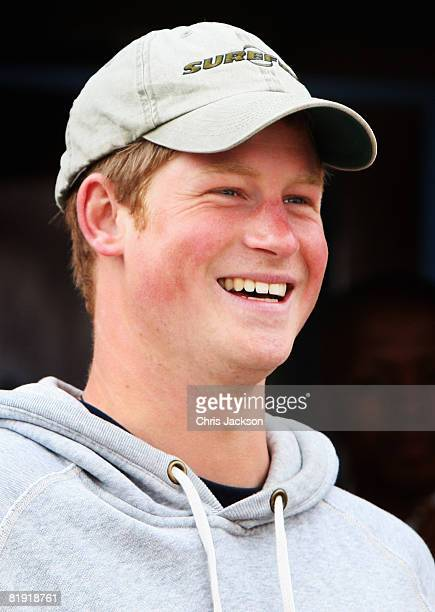 Prince Harry smiles during a visit to LCCU on July 9, 2008 in Maseru, Lesotho. Prince Harry and 26 soldiers from the Household Cavalry are in Lesotho...