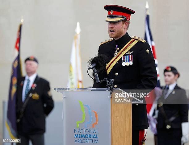 Prince Harry speaks after laying a wreath on the Armed Forces Memorial during Armistice Day commemorations at the National Memorial Arboretum on...