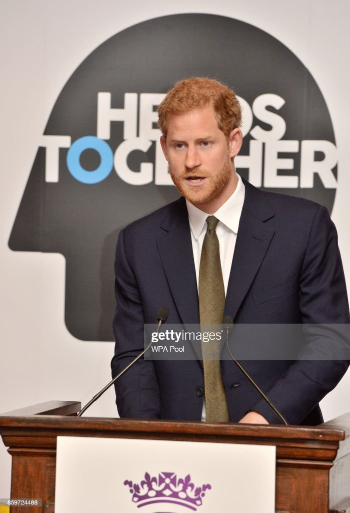 Prince Harry speaks at a reception on World Mental Health Day to celebrate the impact of the Heads Together Charity at St James's Palace on October 10, 2017 in London, England.