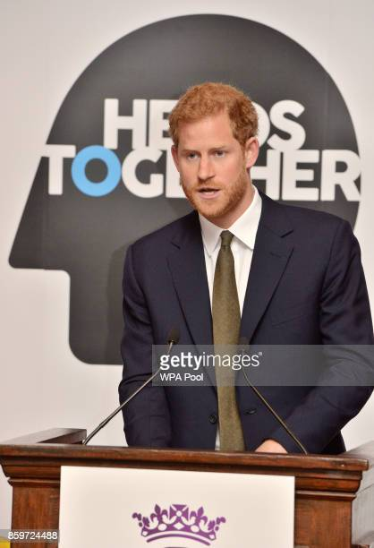 Prince Harry speaks at a reception on World Mental Health Day to celebrate the impact of the Heads Together Charity at St James's Palace on October...