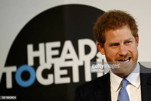 Prince Harry speaks during a briefing to announce plans for Heads Together ahead of the 2017 Virgin Money London Marathon at ICA on January 17 2017...