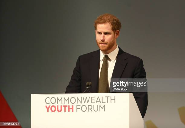 Prince Harry speaks during a Commonwealth Heads of Government Meeting Youth Forum on April 16 2018 in London England The UK this week hosts heads of...