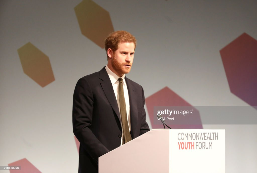 Theresa May And Prince Harry Attend CHOGM Youth Forum In London : News Photo