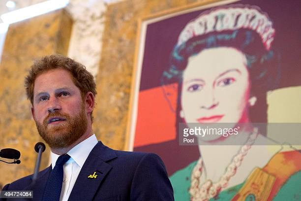 Prince Harry speaks during an Invictus Games reception at the British Ambassador's Residence on October 28 2015 in Washington DC