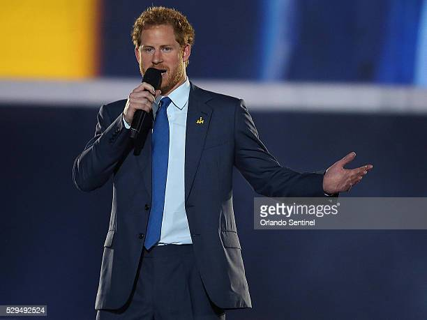 Prince Harry speaks during opening ceremonies for the Invictus Games at Disney's ESPN Wide World of Sports in Orlando Fla on Sunday May 8 2016