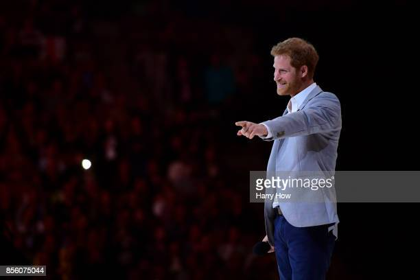 Prince Harry speaks during the closing ceremony of the Invictus Games 2017 at Air Canada Centre on September 30 2017 in Toronto Canada