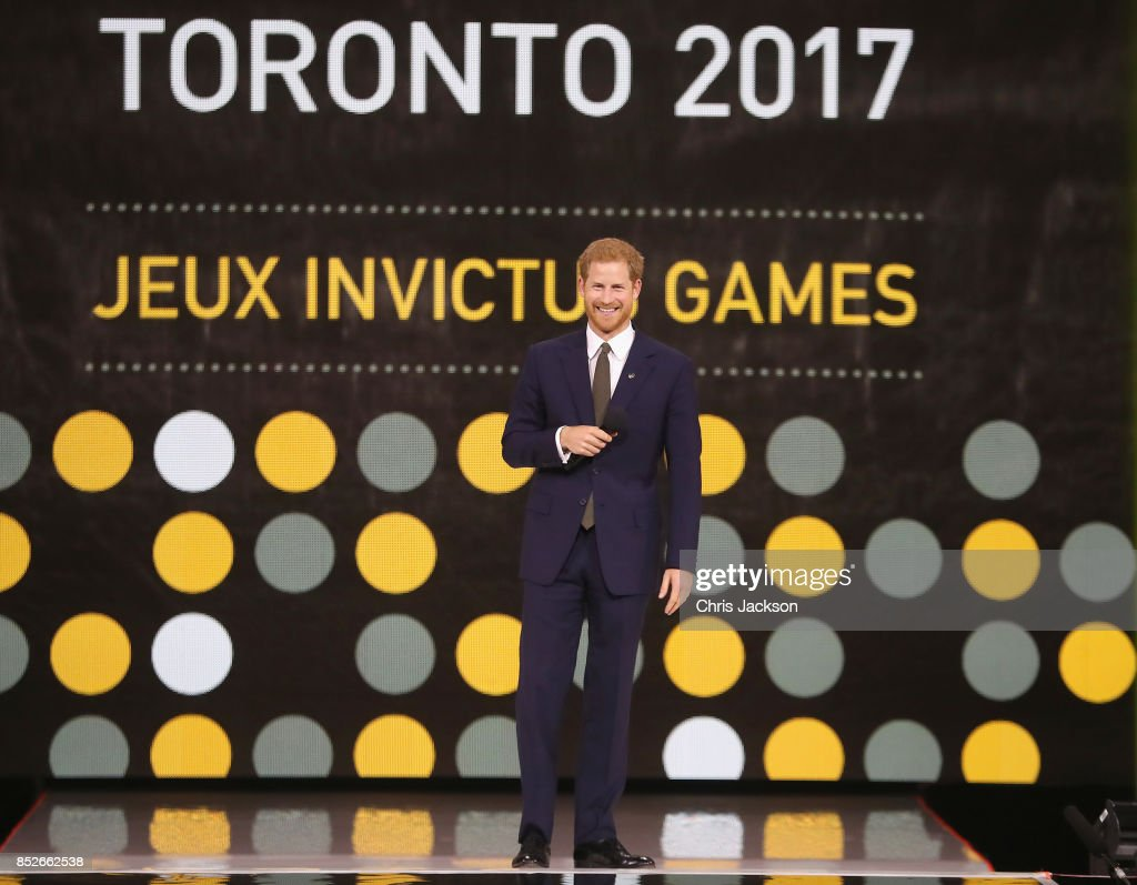 Prince Harry speaks during the opening ceremony of the 2017 Invictus Games at Air Canada Centre on September 23, 2017 in Toronto, Canada.The Invictus Games is the only international sporting event for wounded, injured and sick servicemen and Women (WIS). This year's games will bring together 550 competitors from 17 nations.