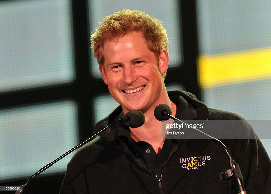 Prince Harry speaks on stage at the Invictus Games Closing Concert at Queen Elizabeth Olympic Park on September 14, 2014 in London, United Kingdom.
