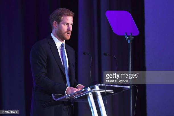 Prince Harry speaks on stage at the Virgin Money Giving Mind Media Awards at Odeon Leicester Square on November 13 2017 in London England