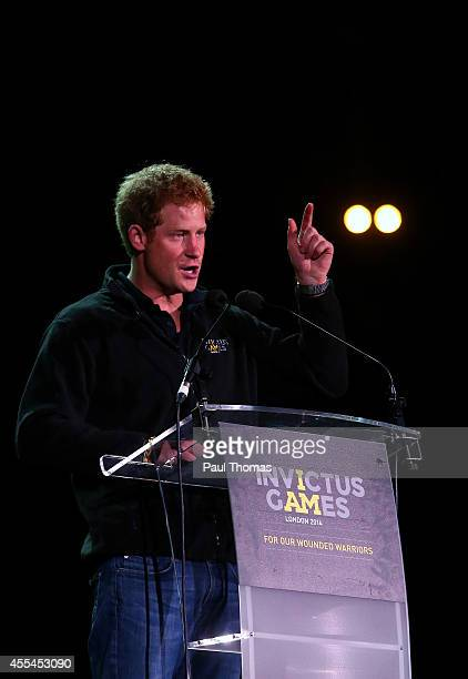 Prince Harry speaks on stage during the Jaguar Land Rover Invictus Games Closing Ceremony at the South Lawn of Queen Elizabeth Olympic Park on...