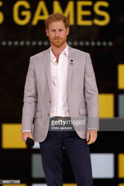 Prince Harry speaks onstage at the closing ceremony of the Invictus Games 2017 at Air Canada Centre on September 30 2017 in Toronto Canada