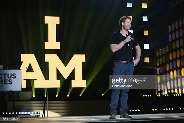 Prince Harry speaks onstage at the Invictus Games Orlando 2016 Closing Ceremony at ESPN Wide World of Sports Complex on May 12 2016 in Lake Buena...