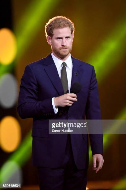 Prince Harry speaks onstage during the opening ceremony on day 1 of the Invictus Games Toronto 2017 at Air Canada Centre on September 23 2017 in...