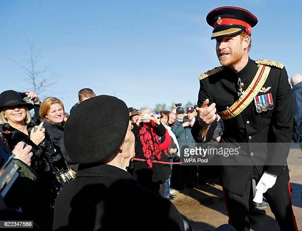 Prince Harry speaks to a veteran at the Armed Forces Memorial during The Armistice Day commemorations at The National Memorial Arboretum on November...