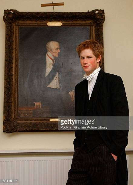 Prince Harry Stands Beside A Portrait Of The Duke Of Wellington The Famous Victor Of The Battle Of Waterloo The Portrait Hangs In The Main Hall In...