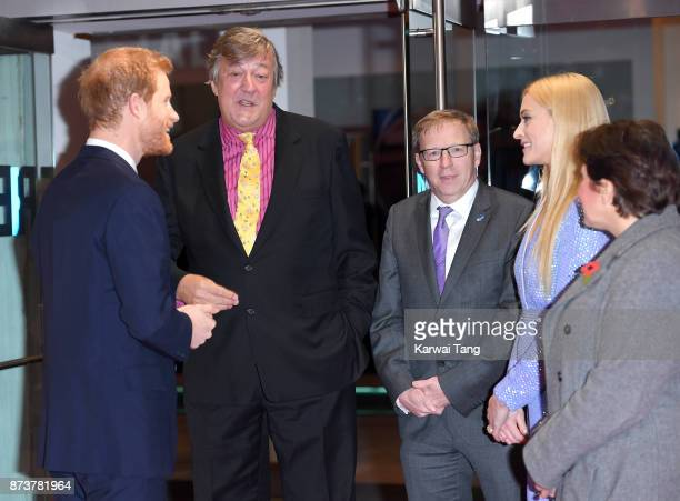 ba0cfd86009 Prince Harry Stephen Fry and Fearne Cotton attend the Virgin Money Giving  Mind Media Awards at